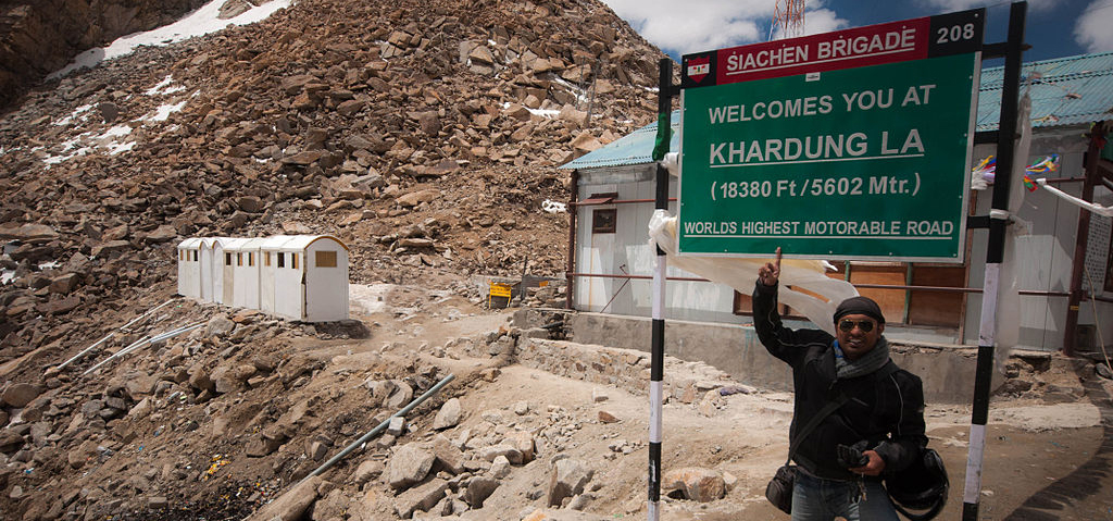 World's highest road at 18380 feet at Khardungla